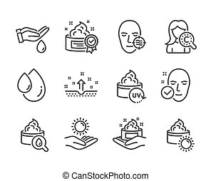 ベクトル, セット, protection., アイコン, 皮膚, 太陽, 問題, そのような物, 美しさ, 健康