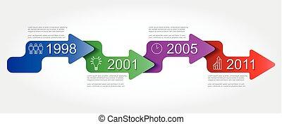 ベクトル, タイムライン, 4, ステップ, infographic, テンプレート