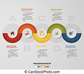 ベクトル, タイムライン, 5, テンプレート, ステップ, infographic, デザイン