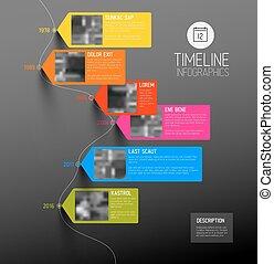 ベクトル, タイムライン, infographic, カラフルである, 縦