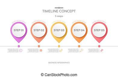 ベクトル, タイムライン, infographic, ステップ, テンプレート, 5