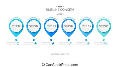 ベクトル, タイムライン, infographic, ステップ, テンプレート, 6