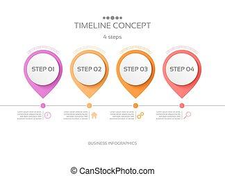 ベクトル, タイムライン, infographic, ステップ, 4, テンプレート