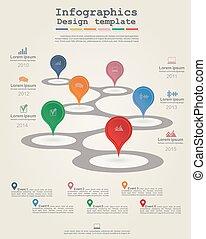 ベクトル, タイムライン, infographic, テンプレート, icons.