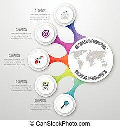 ベクトル, タイムライン, infographic, 3d