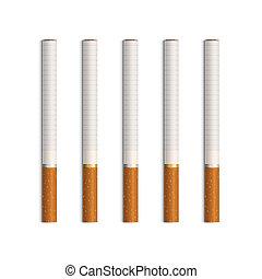 ベクトル, タバコ, 白, セット, 隔離された