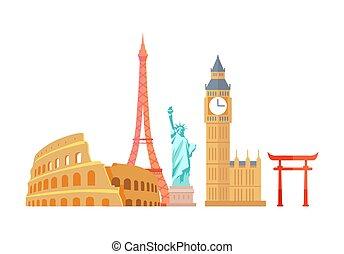 ベクトル, タワー, エッフェル, colosseum, イラスト