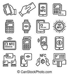 ベクトル, ターミナル, 電話, nfc, set., 支払い, モビール, アイコン
