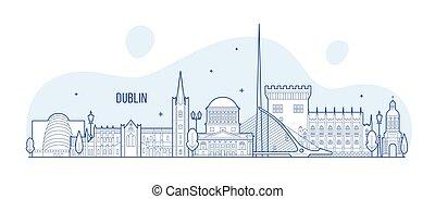 ベクトル, ダブリン, 建物都市, スカイライン, アイルランド