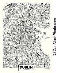 ベクトル, ダブリン, 都市, 詳しい, 地図, ポスター