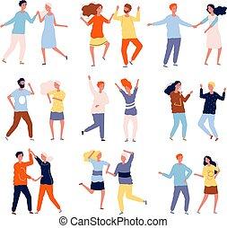 ベクトル, ダンス, chacha, salsa, マレ, コレクション, 特徴, タンゴ, couples., 人々, 群集, 女性, 幸せ, 面白い