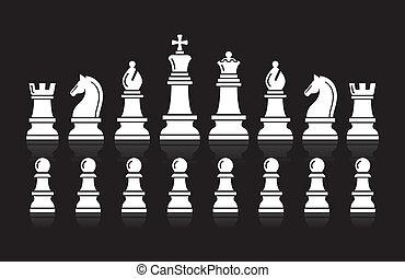 ベクトル, チェス, icons., illustration.