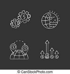 ベクトル, チョーク, using., 世界事業, 取引しなさい, 黒, 黒板, 隔離された, edge., 国際的な貿易, 取引, 世界的である, 白, バックグラウンド。, イラスト, 資源, アイコン, 資産, 自然, セット, 競争