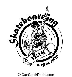 ベクトル, チーム, イラスト, skateboarding, シンボル
