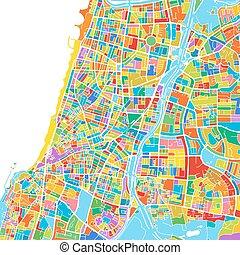 ベクトル, テルアビブ - yafo, カラフルである, 地図