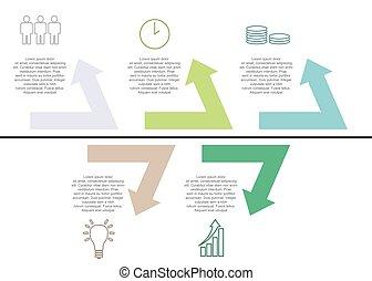 ベクトル, テンプレート, アイコン, ステップ, infographic, 5, 矢