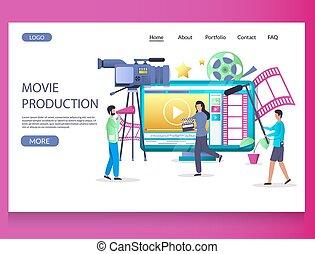 ベクトル, テンプレート, デザイン, ウェブサイト, 映画, ページ, 着陸, 生産