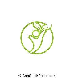 ベクトル, テンプレート, ロゴ, 生活, 健康