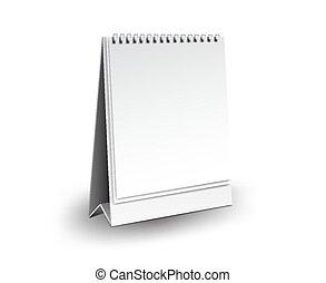 ベクトル, テンプレート, 縦, mockup, 机, イラスト, 隔離された, デザイン, 現実的, ペーパー, 背景, ブランク, 白, ブランク, カレンダー, 3d