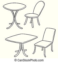 ベクトル, テーブル, 椅子, セット
