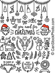 ベクトル, デザイン, クリスマス, 要素