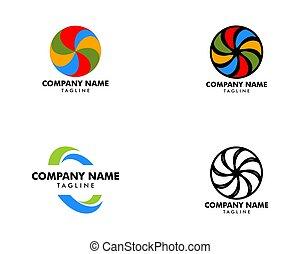 ベクトル, デザイン, セット, テンプレート, イラスト, アイコン, ロゴ, 渦