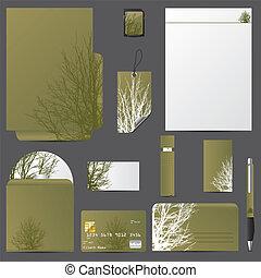ベクトル, デザイン, セット, 木, ビジネス