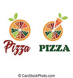 ベクトル, デザイン, テンプレート, ピザ