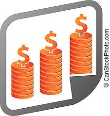 ベクトル, デザイン, テンプレート, レポート, ロゴ, 投資
