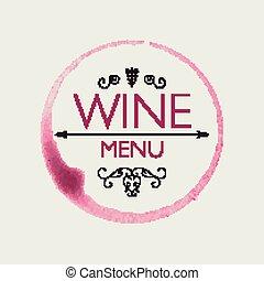 ベクトル, デザイン, テンプレート, ワイン