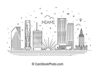 ベクトル, デザイン, マイアミ, イラスト, 都市, 平ら, スカイライン