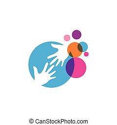 ベクトル, デザイン, ロゴ, イラスト, 手, アイコン