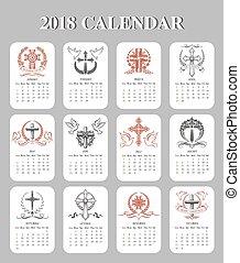 ベクトル, デザイン, 十字架像, テンプレート, カレンダー, イースター