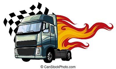 ベクトル, デザイン, 半, イラスト, 漫画, truck.