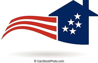 ベクトル, デザイン, 家, アメリカ人, logo., グラフィック, 旗