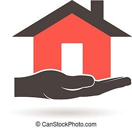 ベクトル, デザイン, 家, 手, logo., グラフィック
