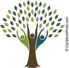 ベクトル, デザイン, 木, 自由, logo., グラフィック
