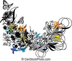 ベクトル, デザイン, 花