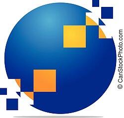 ベクトル, デザイン, 解決, テンプレート, デジタル, ロゴ