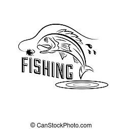 ベクトル, デザイン, 釣り, テンプレート