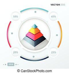ベクトル, デザイン, infographic, ピラミッド