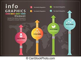 ベクトル, デザイン, infographic, 現代