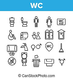 ベクトル, トイレ, 浴室, wc, アイコン, 公衆, セット, 線である