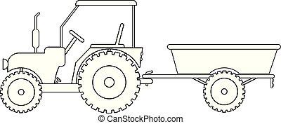 ベクトル, トラクターの トレーラー, 図画