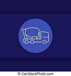 ベクトル, トラック, アイコン, ミキサー, 線である, コンクリート