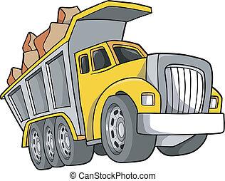 ベクトル, トラック, イラスト, ゴミ捨て場