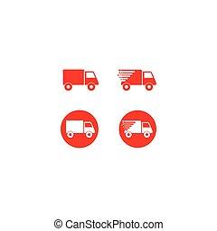 ベクトル, トラック, ロゴ, アイコン