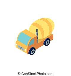 ベクトル, トラック, 黄色, ミキサー, デザイン, コンクリート, 隔離された, 建設