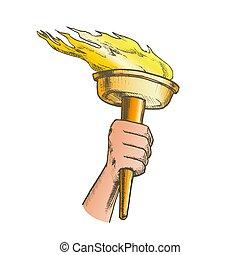 ベクトル, トーチ, 燃焼, 色, オリンピック, 手, 把握, スティック