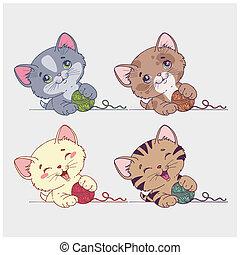 ベクトル, ネコ, セット, 漫画